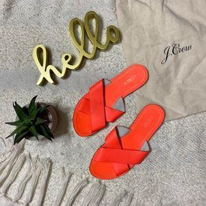 J. Crew neon orange criss cross strap sandals